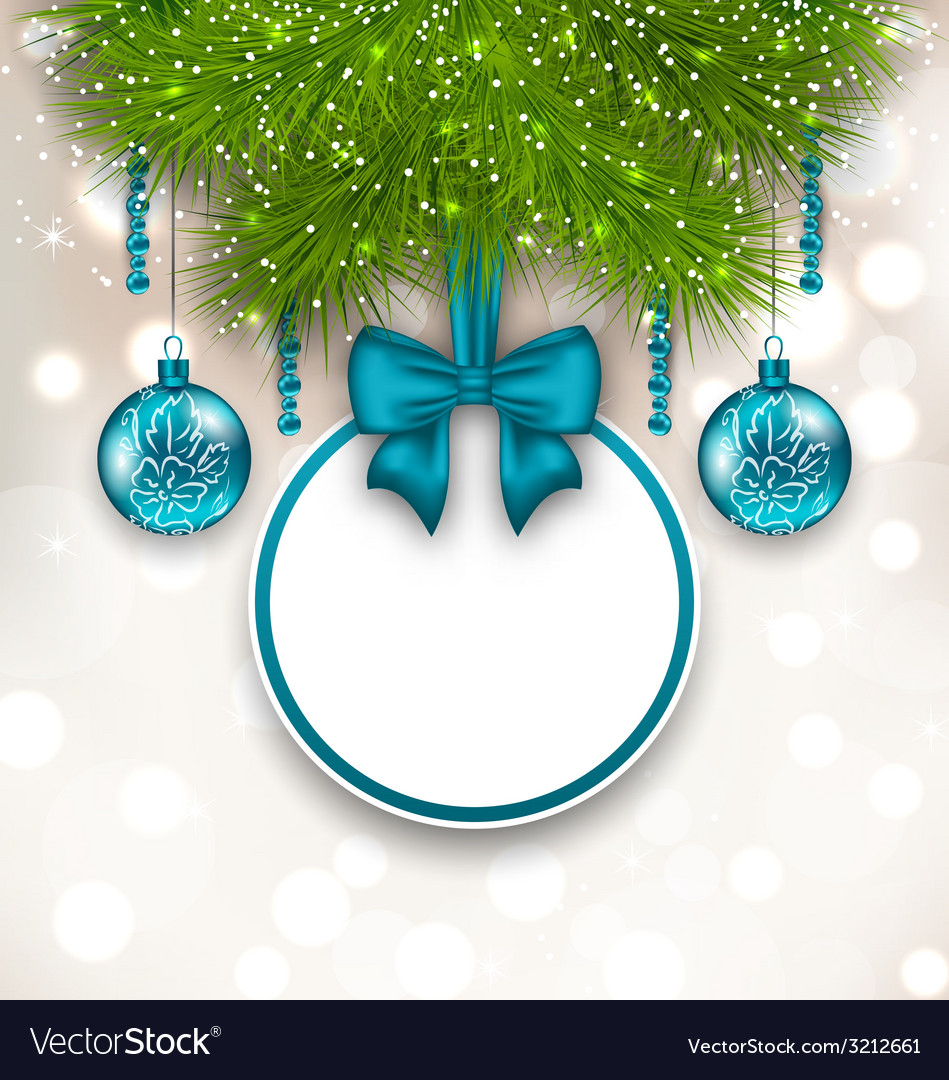 Christmas gift card with glass balls - vector | Price: 1 Credit (USD $1)