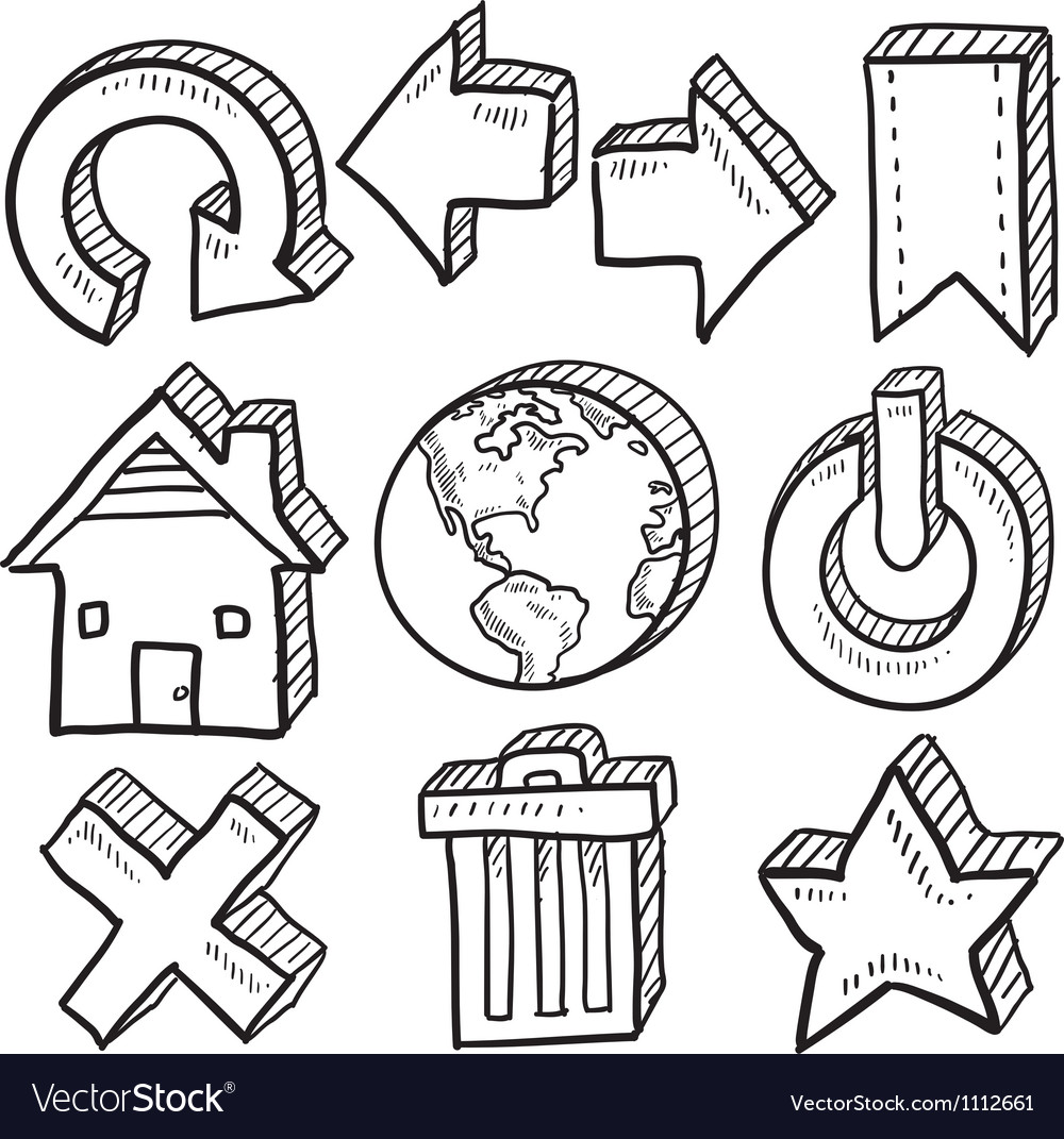Doodle icons internet computer vector | Price: 1 Credit (USD $1)