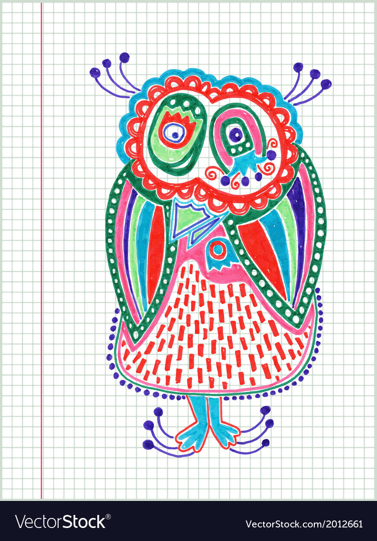 Doodle owl marker hand draw vector | Price: 1 Credit (USD $1)
