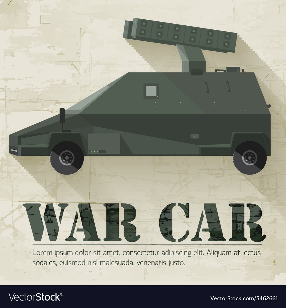 Grunge military war car icon background concept vector | Price: 1 Credit (USD $1)