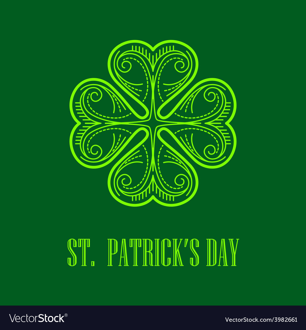 Linear monogram saint patricks day vector | Price: 1 Credit (USD $1)