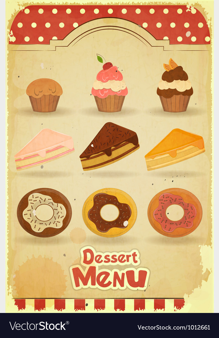 Pastry on retro background vector | Price: 1 Credit (USD $1)