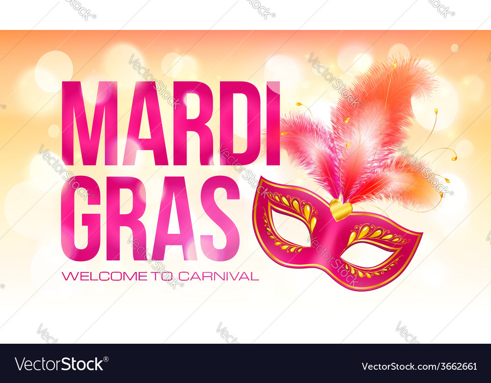 Pink mardi gras banner template with red carnival vector | Price: 1 Credit (USD $1)