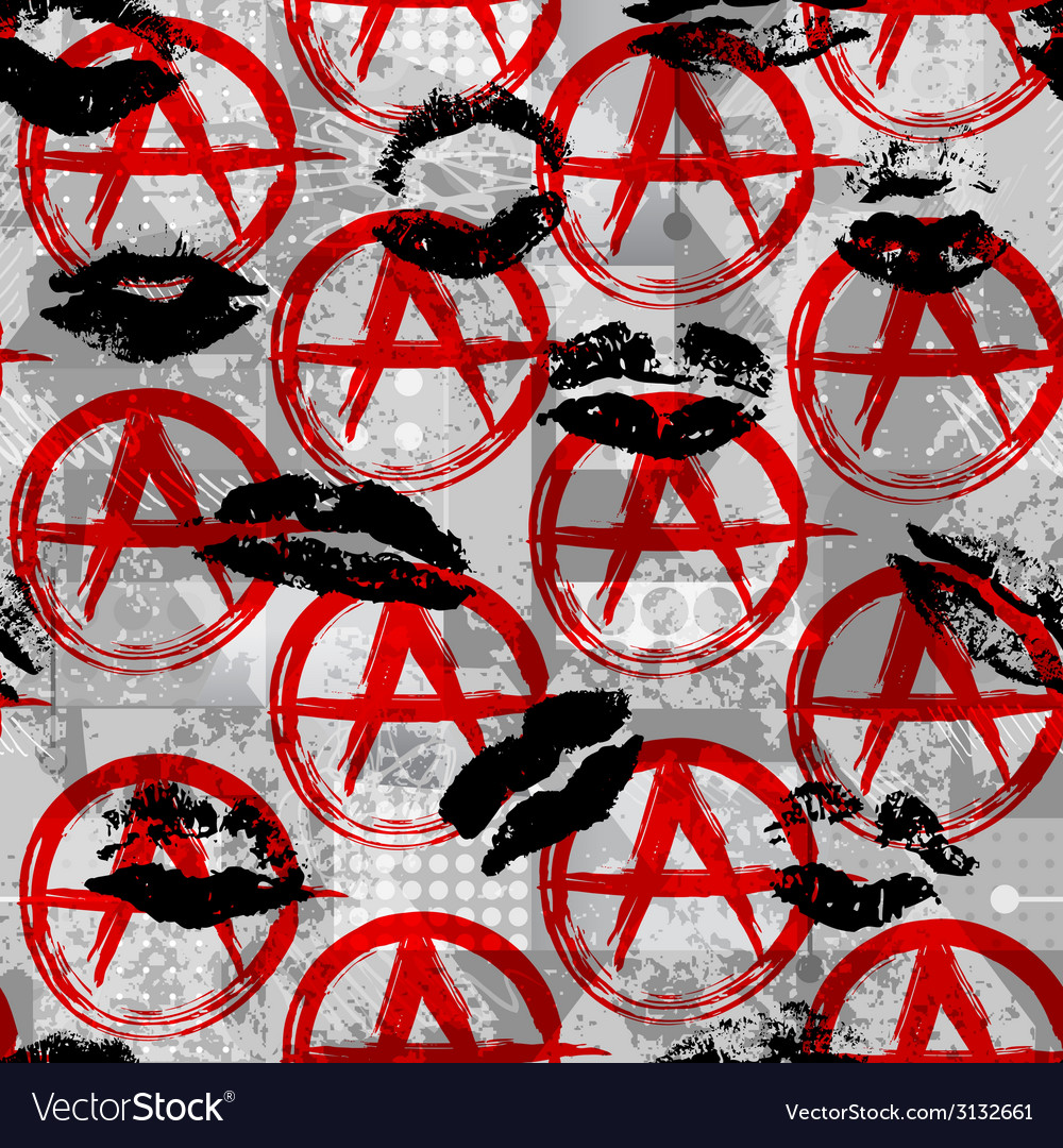 Signs of anarchy with black kisses vector | Price: 1 Credit (USD $1)
