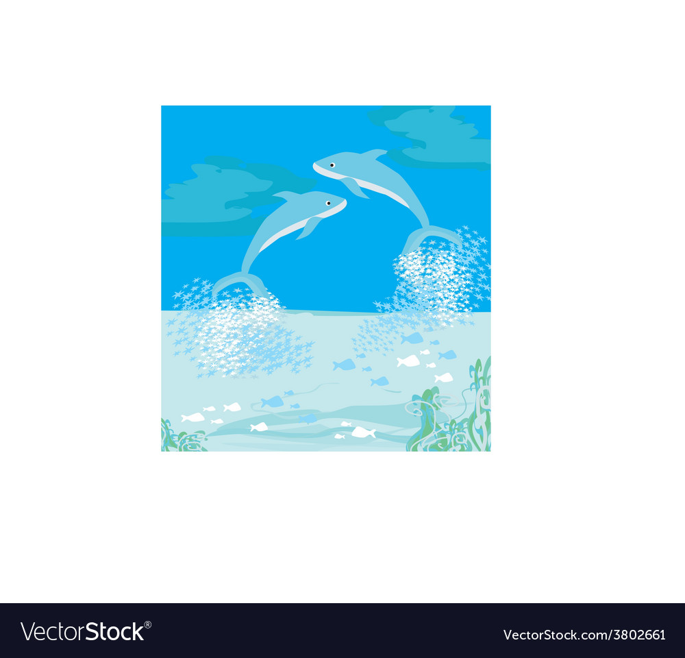 Two dolphins jumping out of water vector | Price: 1 Credit (USD $1)