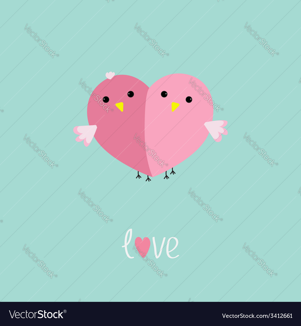 Two pink birds in shape of half heart love cart vector | Price: 1 Credit (USD $1)