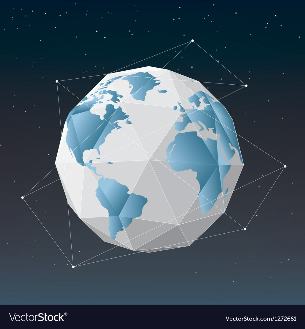 White earth globe geometrical background vector | Price: 1 Credit (USD $1)