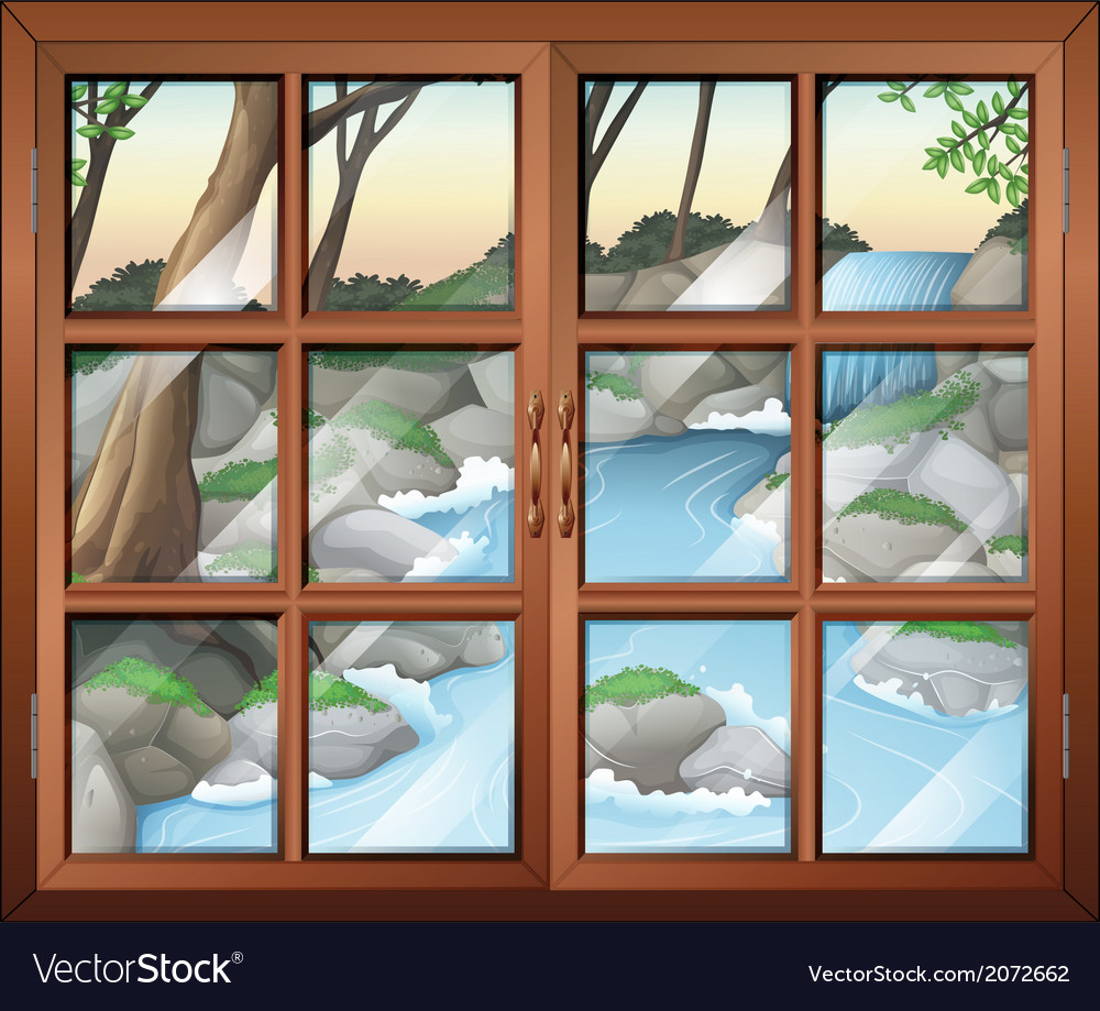 A closed window near the waterfall vector | Price: 1 Credit (USD $1)