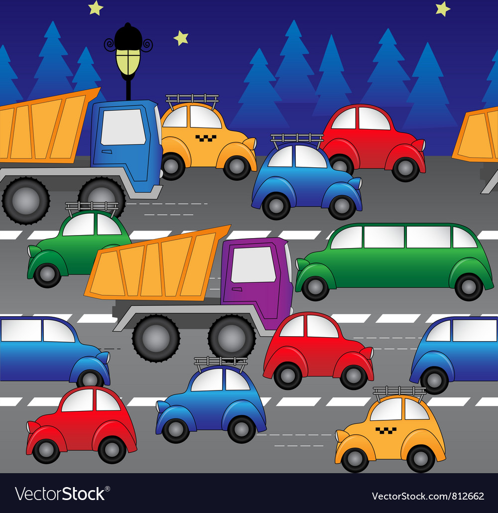 Cars on road vector | Price: 3 Credit (USD $3)