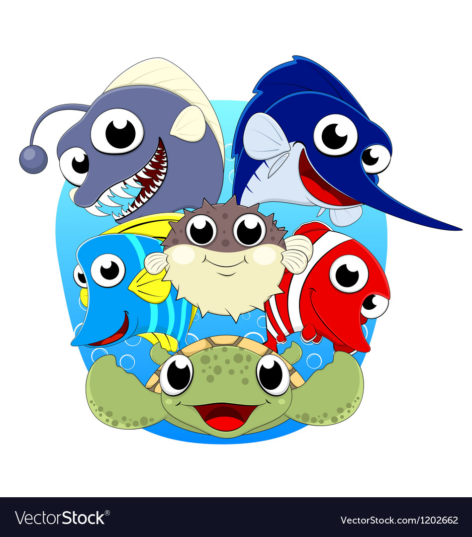 Cute sea animal set vector | Price: 3 Credit (USD $3)