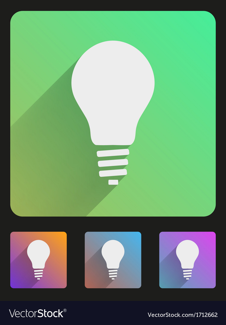 Flat icon set bulb eco lamp vector | Price: 1 Credit (USD $1)