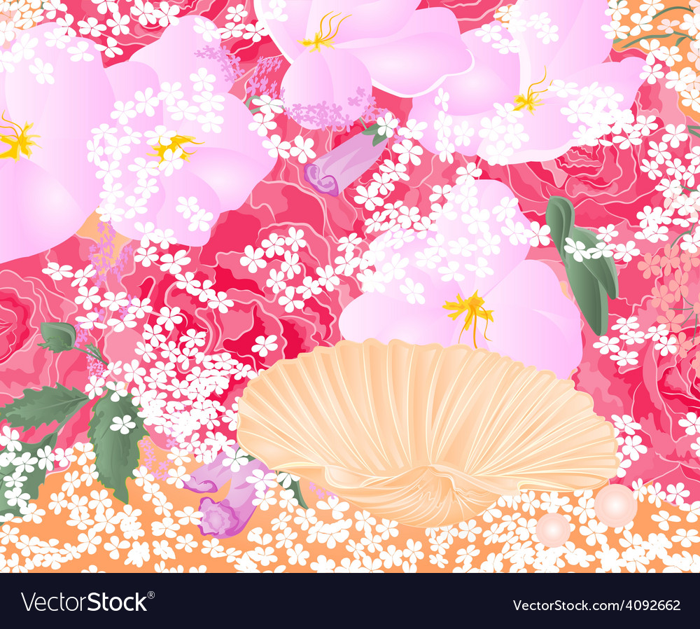 Flowers and seashell roses and orchids celebration vector | Price: 1 Credit (USD $1)
