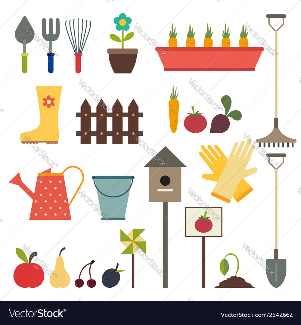 Garden and gardening tools icon set isolated on a vector | Price: 1 Credit (USD $1)