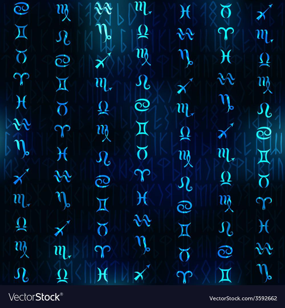 Glow zodiac symbols on navy blue blur background vector | Price: 1 Credit (USD $1)