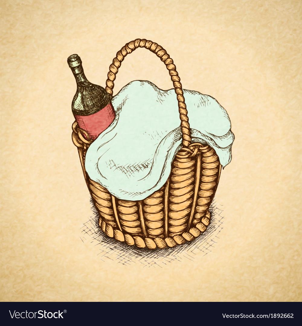 Vintage picnic basket vector | Price: 1 Credit (USD $1)