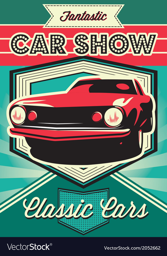 Vintage poster for the exhibition of cars vector | Price: 1 Credit (USD $1)