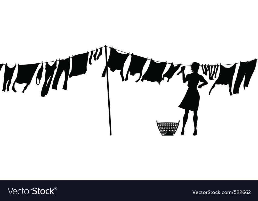Woman hanging washing vector | Price: 1 Credit (USD $1)