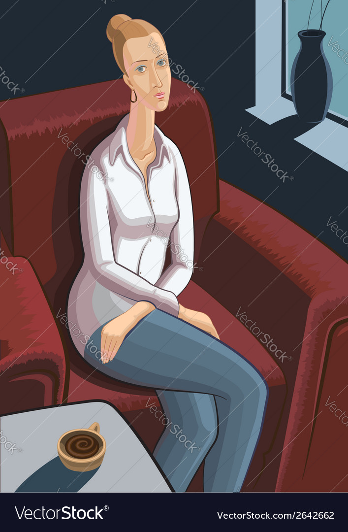 Young woman sitting in armchair with cup of coffee vector | Price: 1 Credit (USD $1)