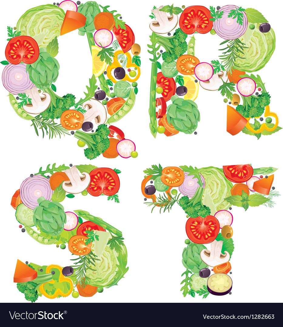 Alphabet of vegetables qrst vector | Price: 3 Credit (USD $3)