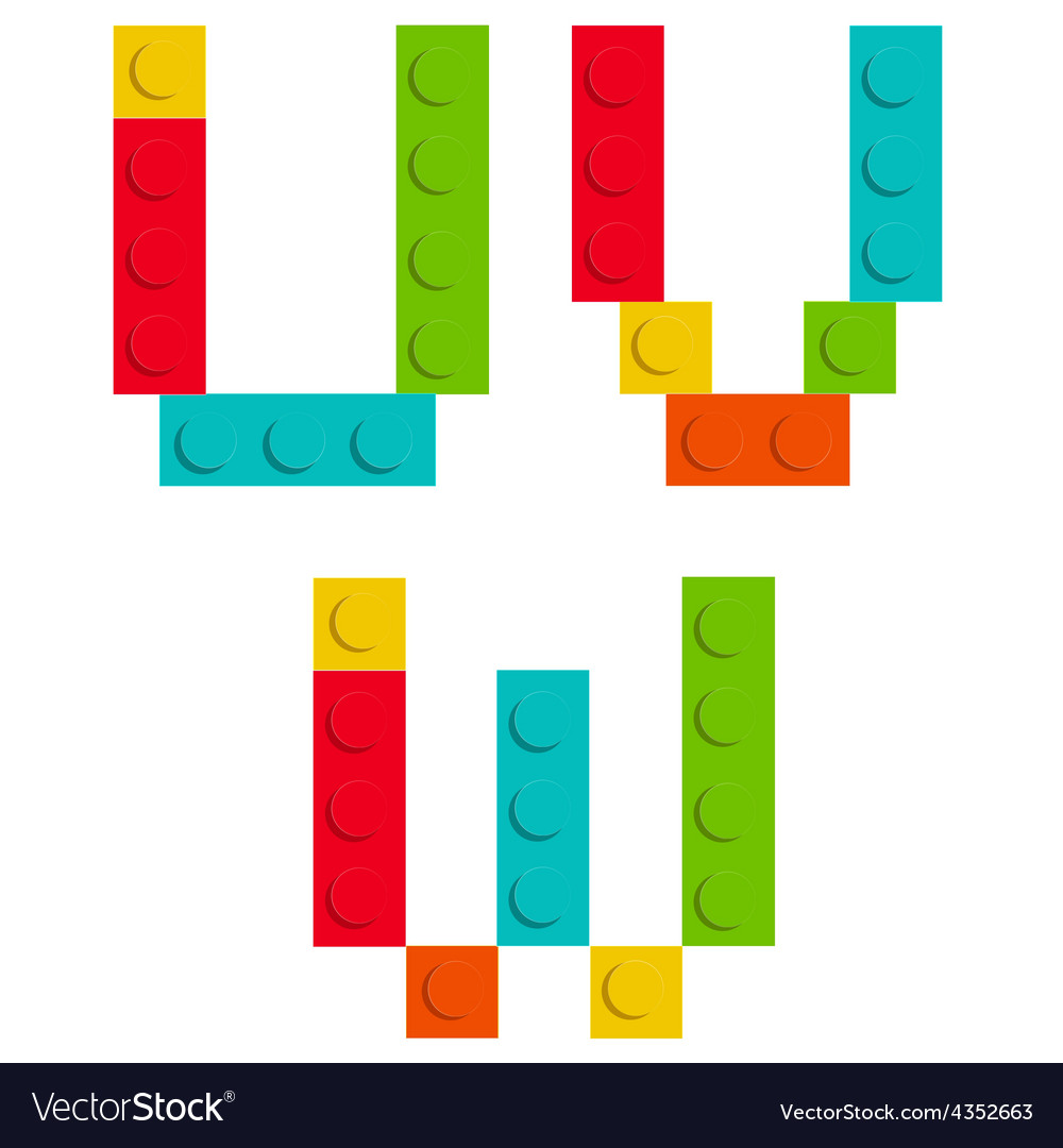 Alphabet set made of toy construction brick vector | Price: 1 Credit (USD $1)