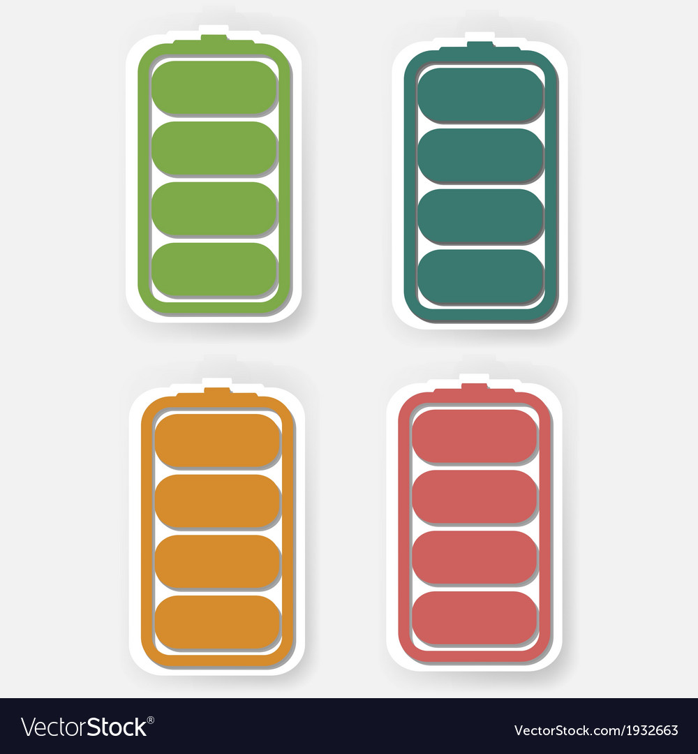 Batteries icons shows the amount of charge in the vector | Price: 1 Credit (USD $1)