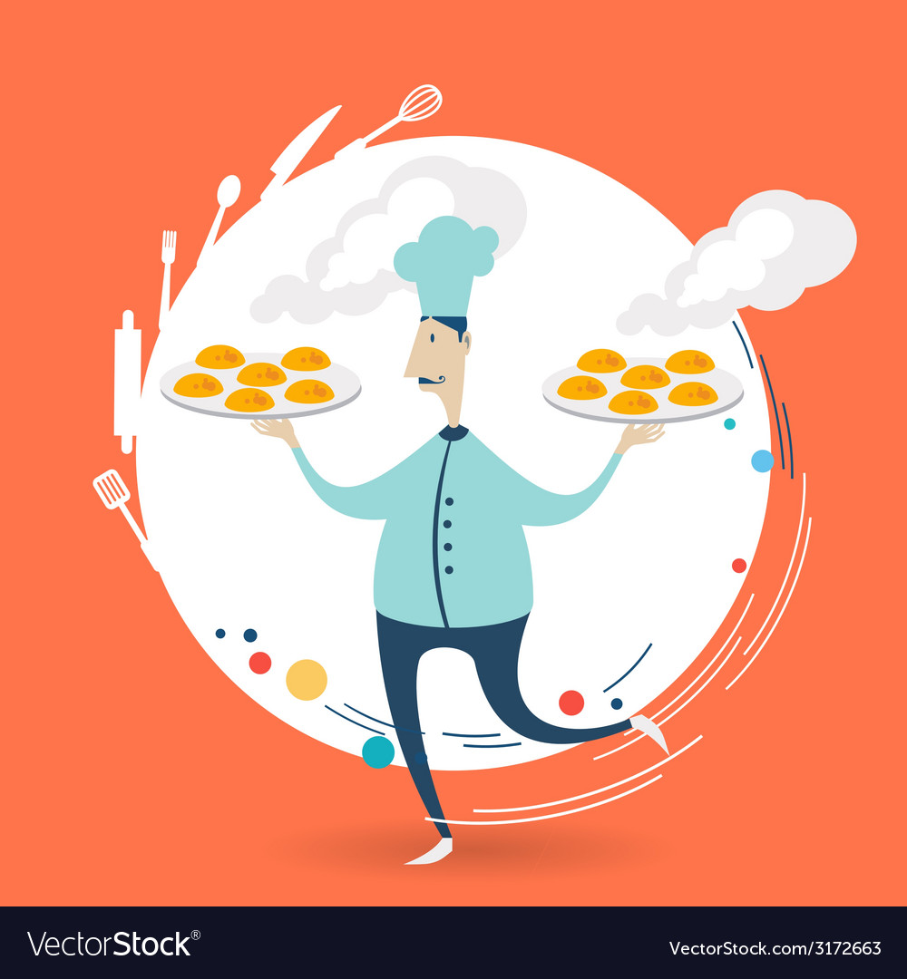 Chef carries a tray of muffins vector | Price: 1 Credit (USD $1)