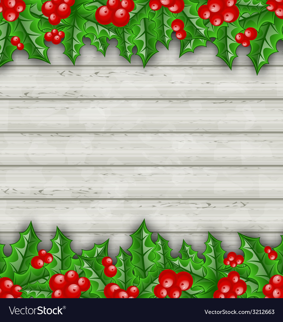 Christmas decoration holly berry branches on vector | Price: 1 Credit (USD $1)