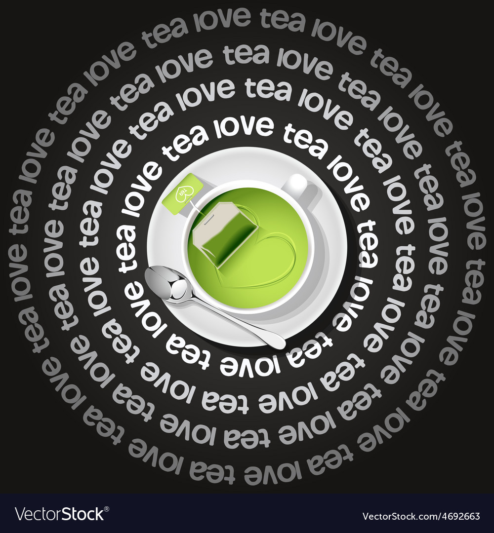 Cup of heart in gree tea with tea bag vector | Price: 3 Credit (USD $3)