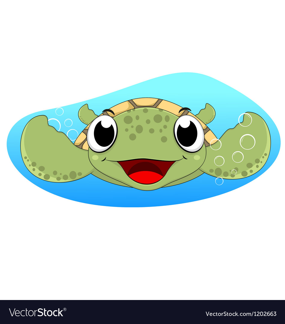 Cute sea turtle vector