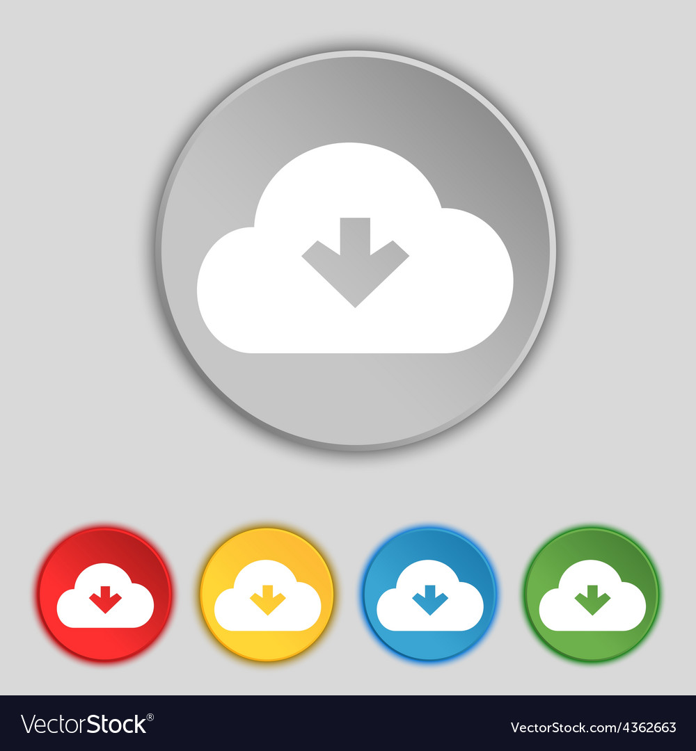 Download from cloud icon sign symbol on five flat vector | Price: 1 Credit (USD $1)