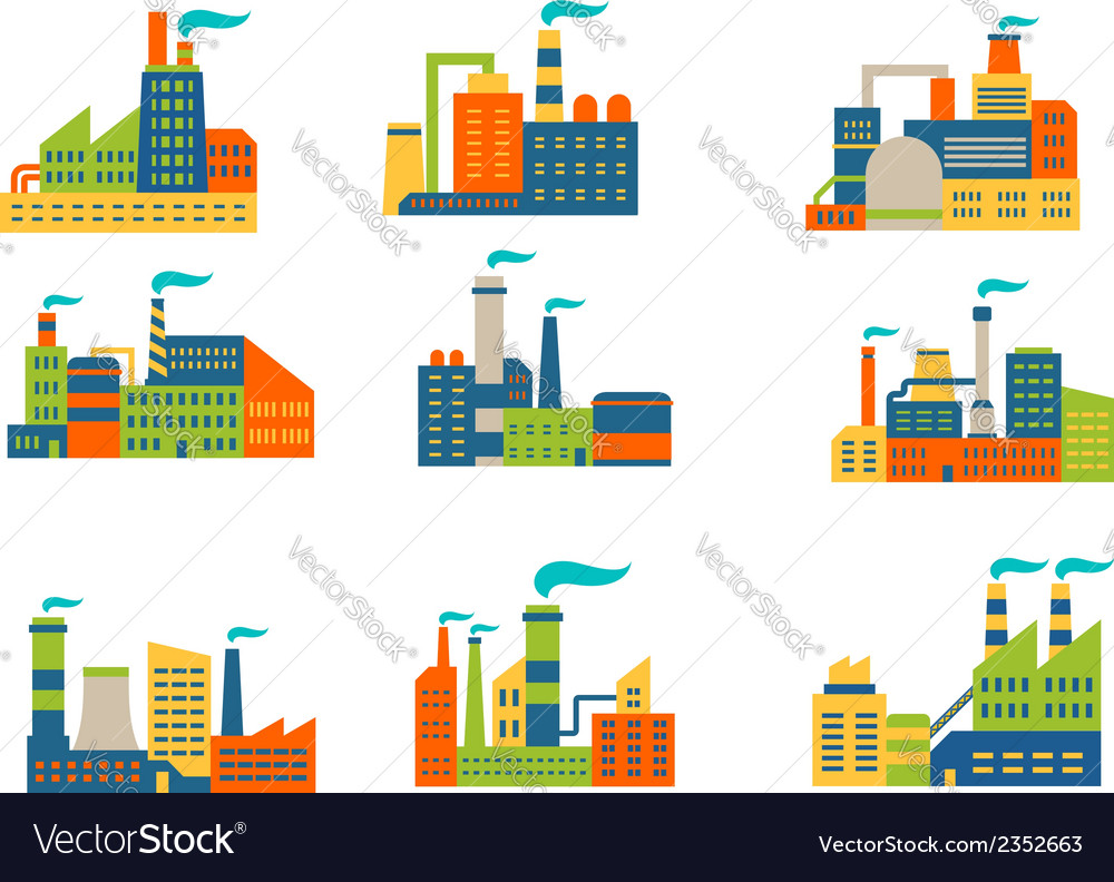 Factories and plants set vector | Price: 1 Credit (USD $1)