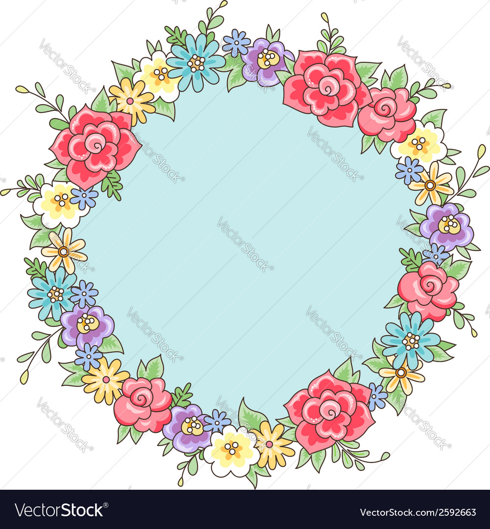 Flower wreath vector | Price: 1 Credit (USD $1)