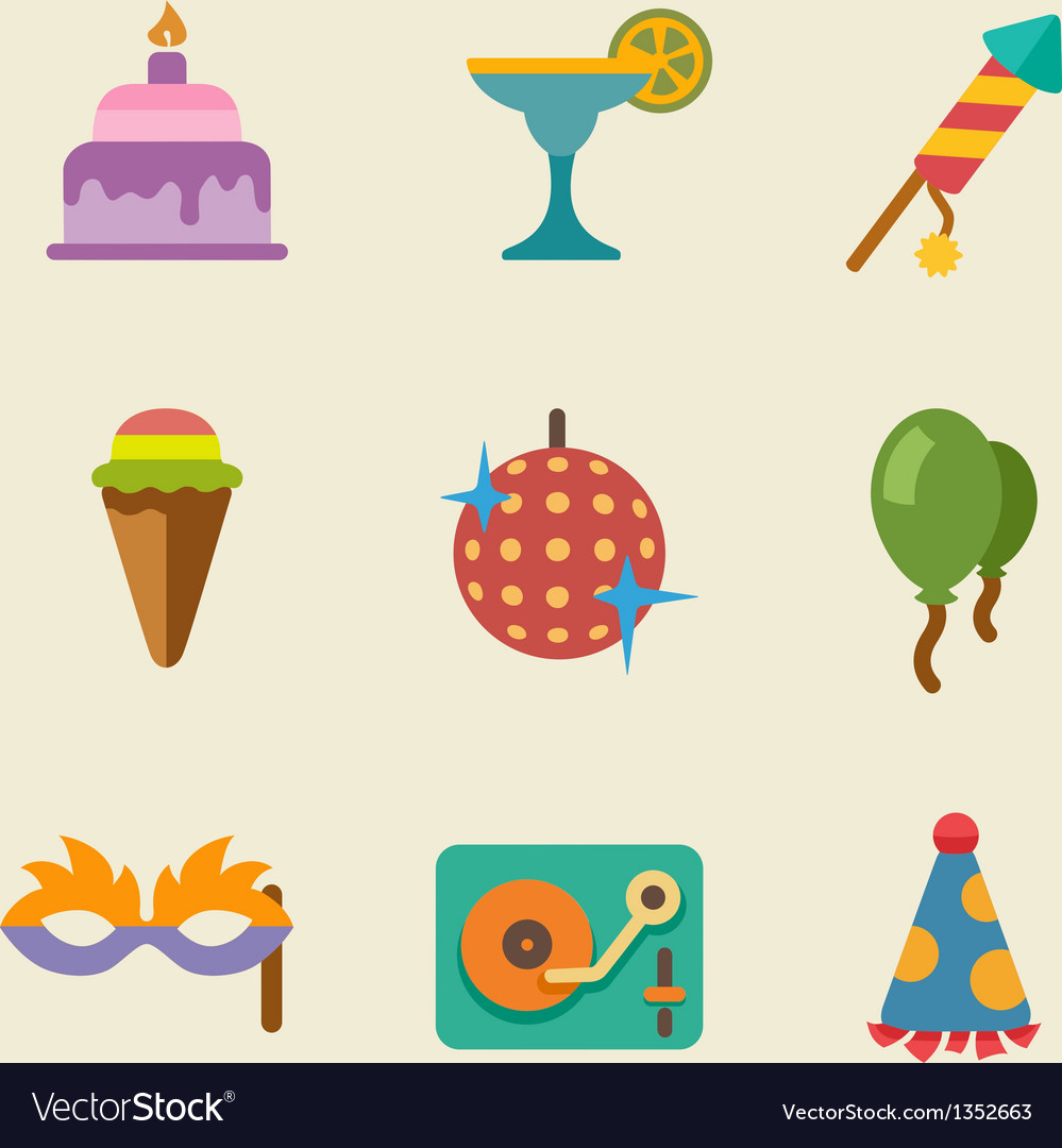 Party color icon set vector | Price: 1 Credit (USD $1)