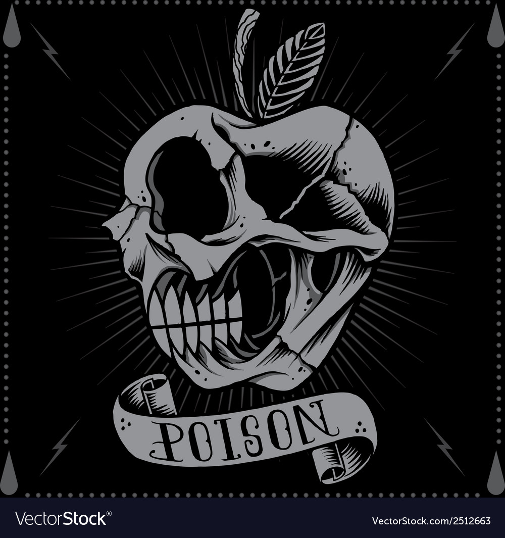 Poison apple skull vector | Price: 1 Credit (USD $1)