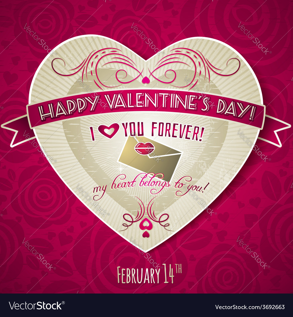 Red valentines day greeting card with red heart vector | Price: 1 Credit (USD $1)