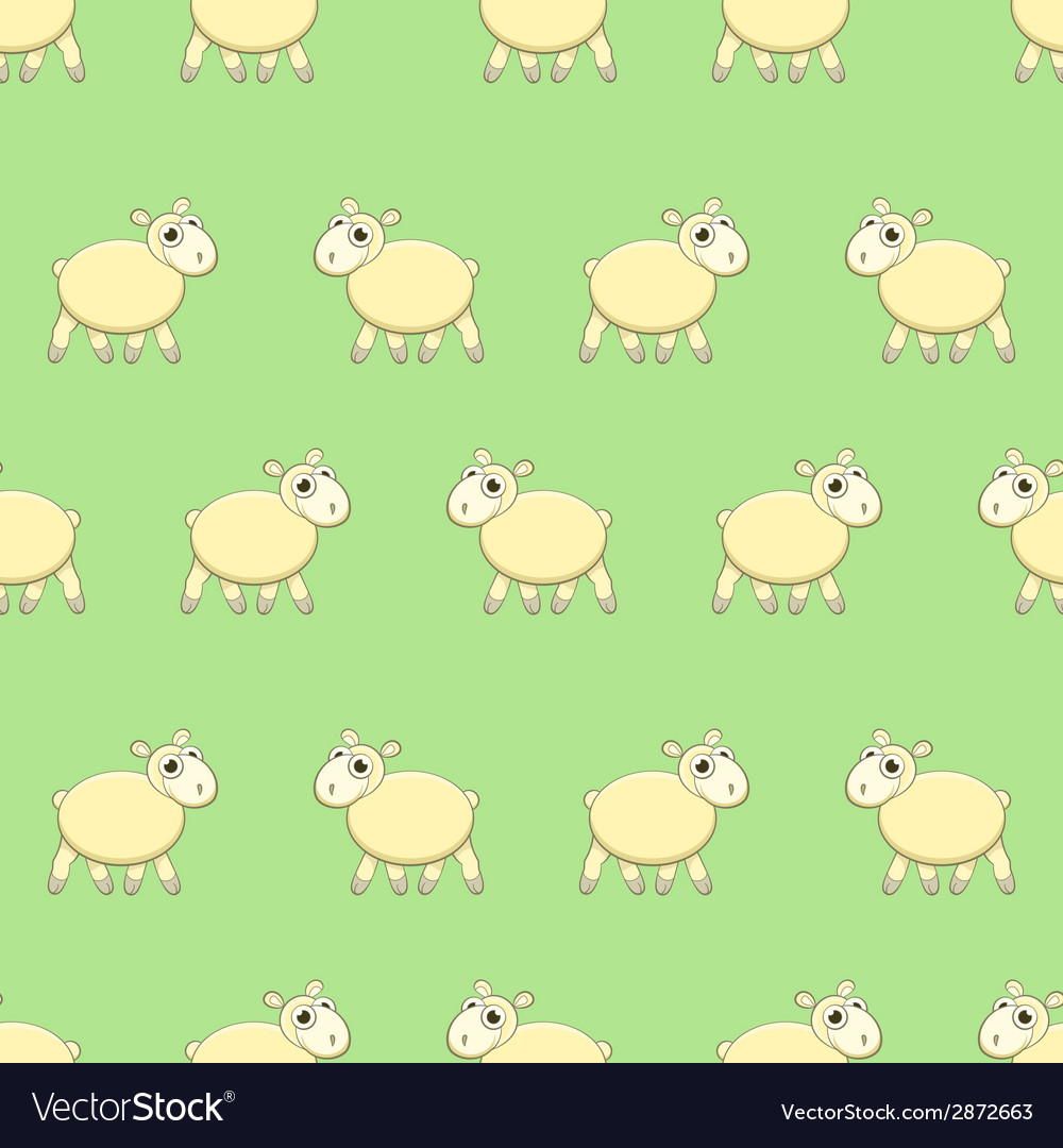 Seamless pattern with cute sheep on grass vector | Price: 1 Credit (USD $1)
