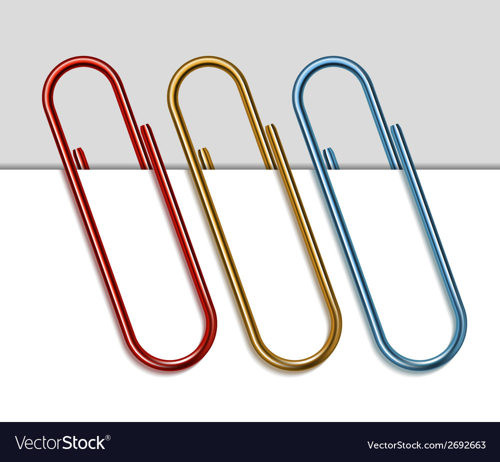 Set of colored paper clips vector | Price: 1 Credit (USD $1)