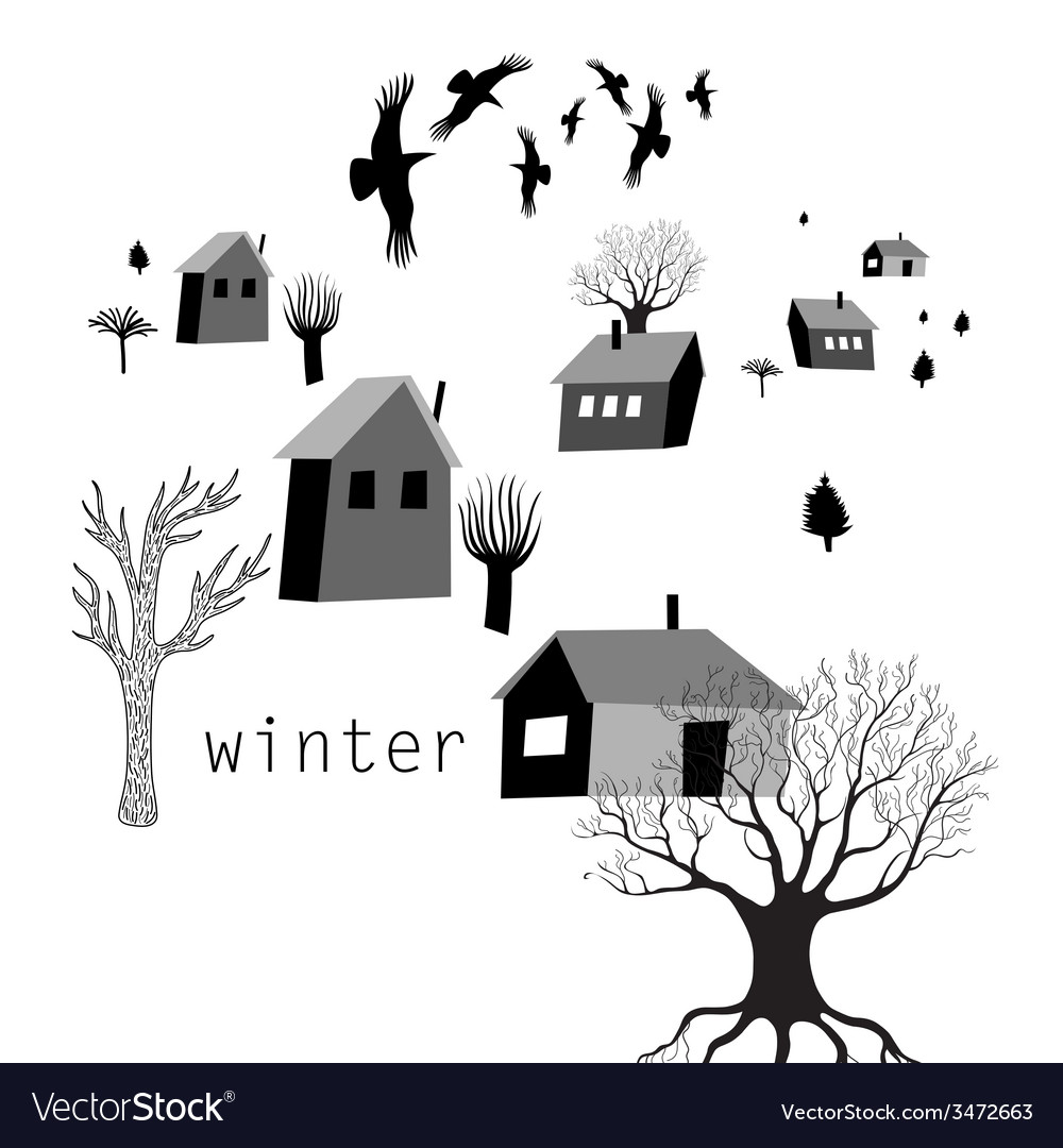 Village and crows in winter vector | Price: 1 Credit (USD $1)