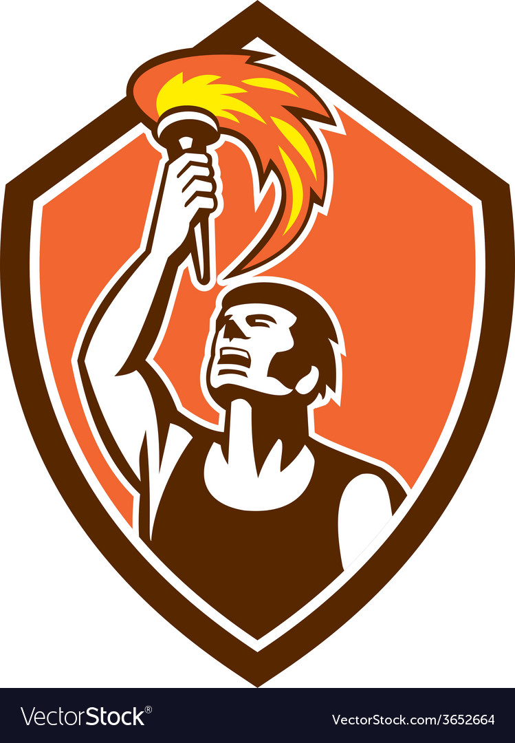 Athlete player raising flaming torch shield retro vector | Price: 1 Credit (USD $1)