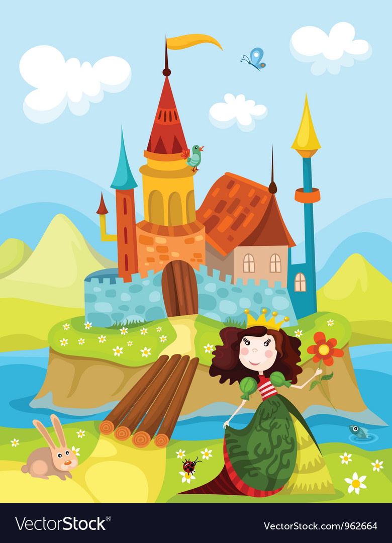 Castle and princess vector | Price: 3 Credit (USD $3)