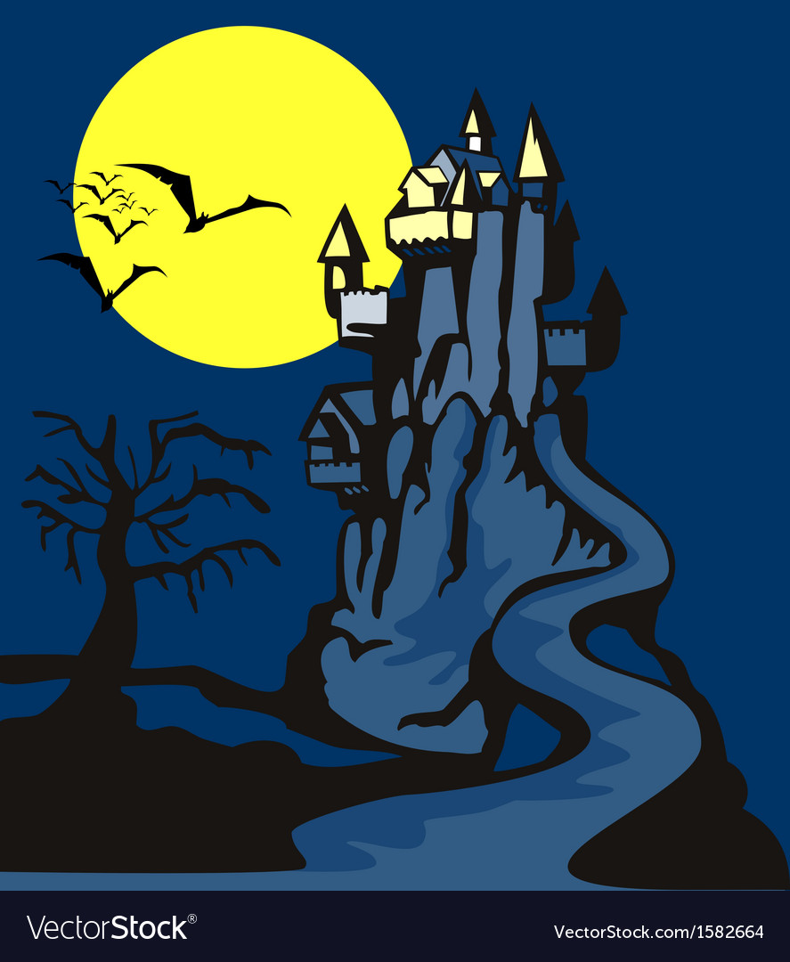 Castle with dead tree vector | Price: 1 Credit (USD $1)