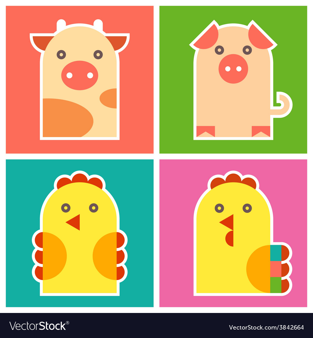 Chicken cock pig and cow vector   Price: 1 Credit (USD $1)