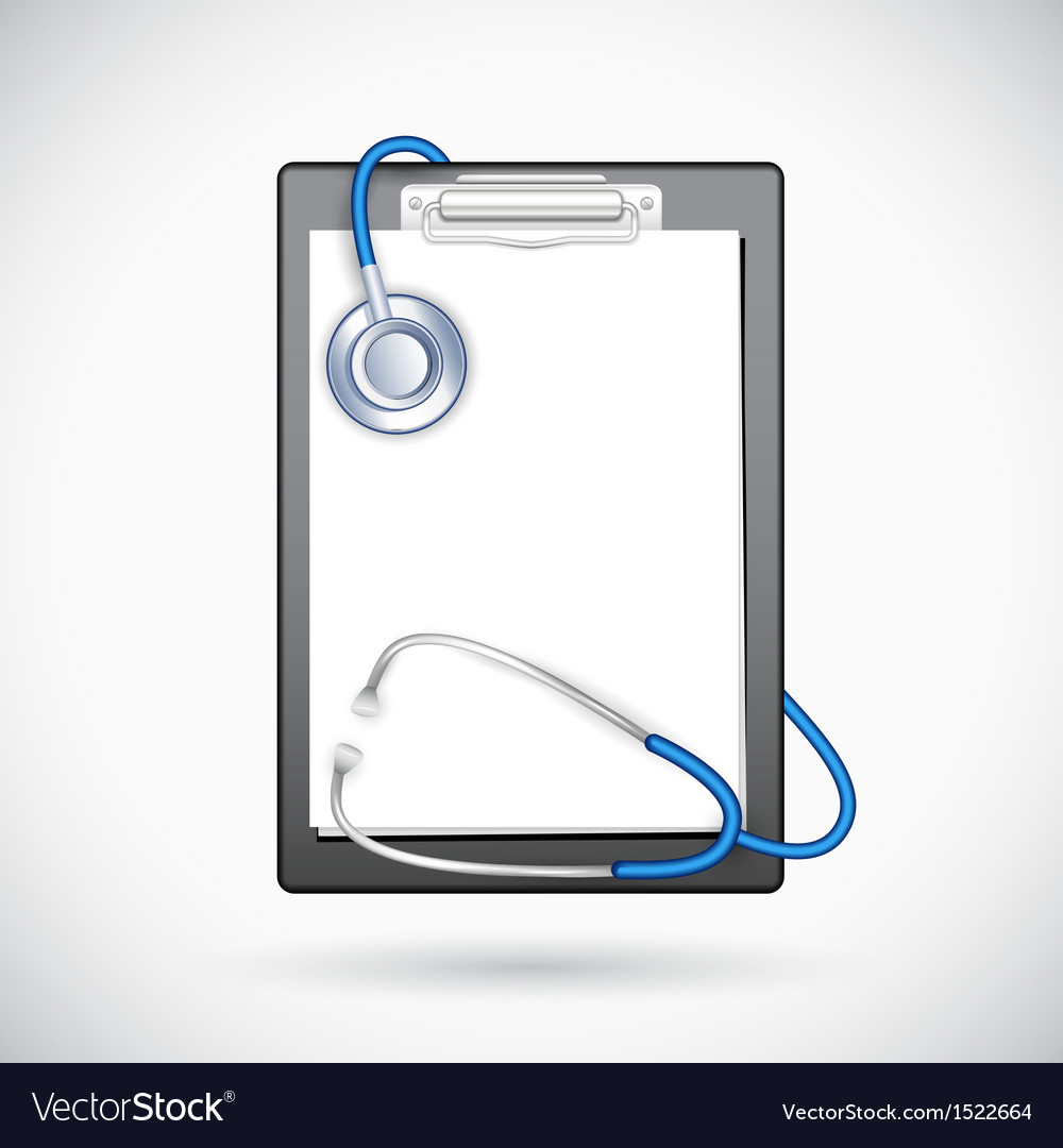 Clipboard with stethoscope vector | Price: 1 Credit (USD $1)