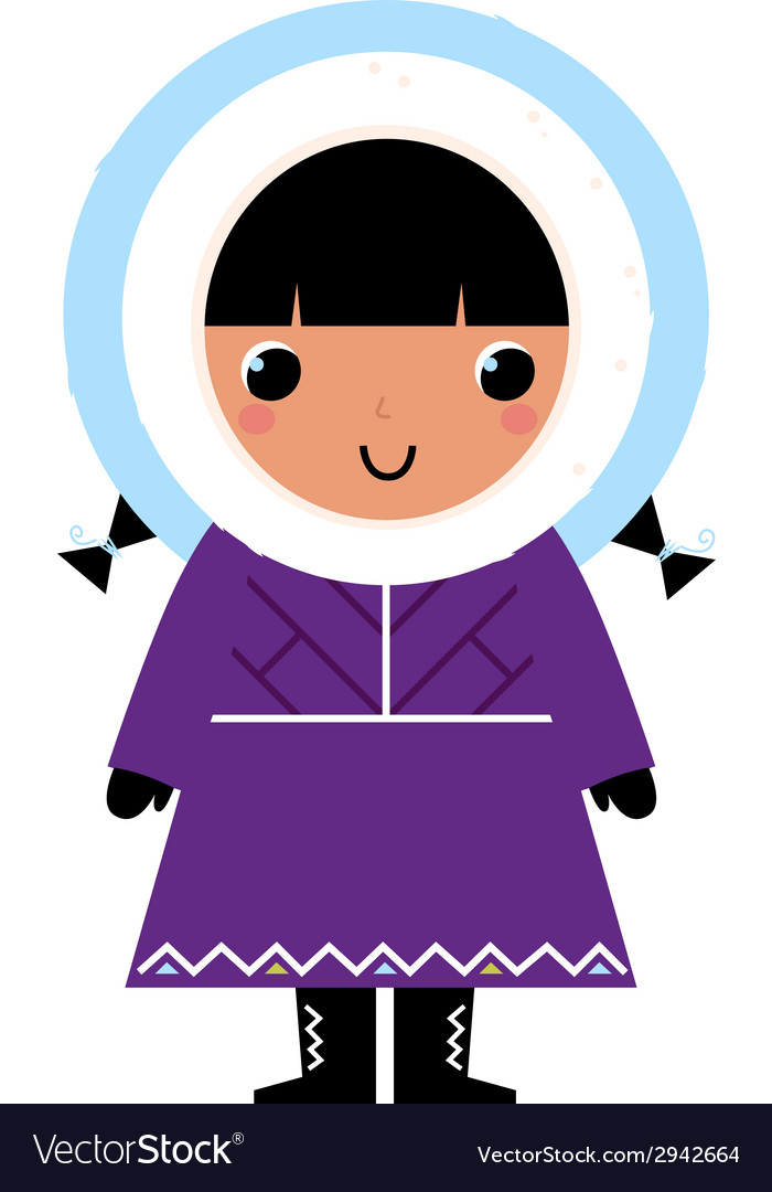 Cute eskimo girl isolated on white vector | Price: 1 Credit (USD $1)
