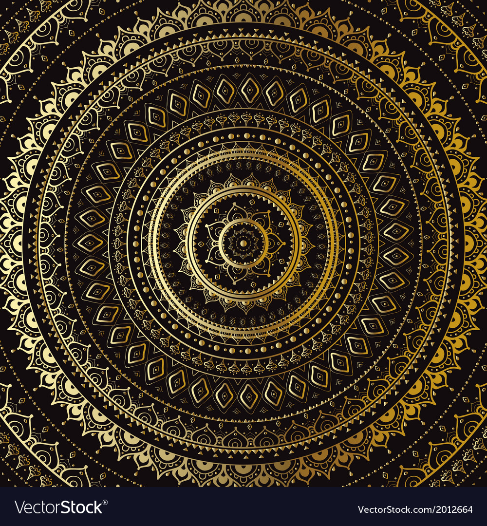 Gold mandala indian decorative pattern vector | Price: 1 Credit (USD $1)