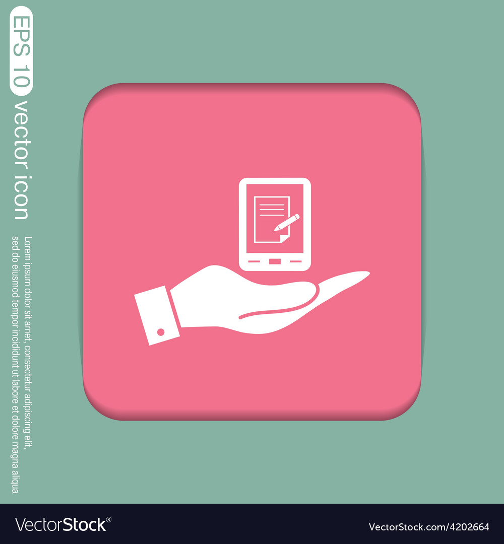 Hand holding a tablet pad with sheet of paper vector | Price: 1 Credit (USD $1)