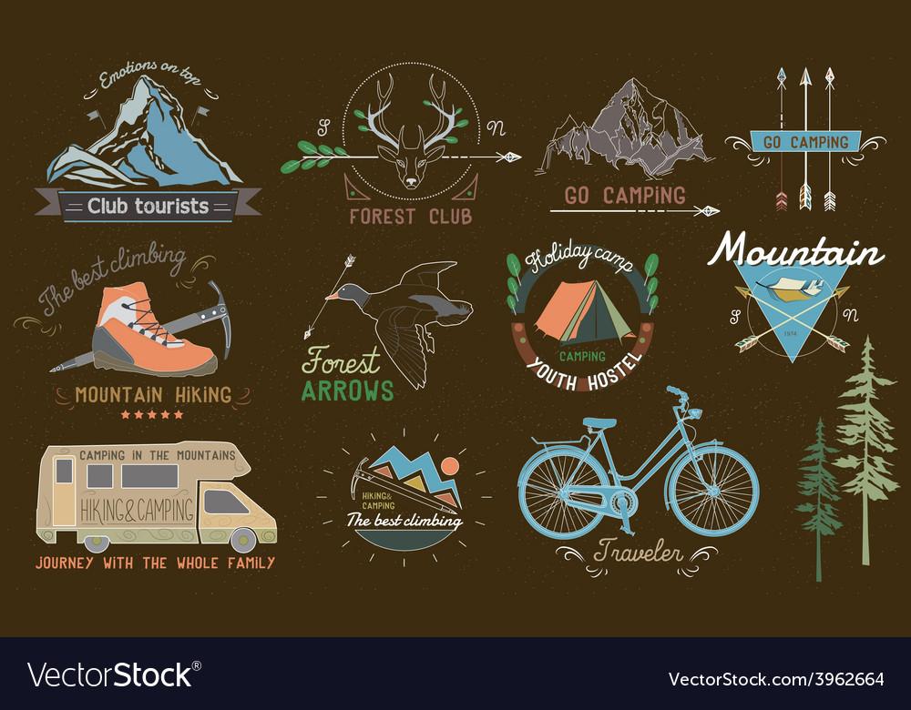Set of vintage camp labels vector | Price: 1 Credit (USD $1)