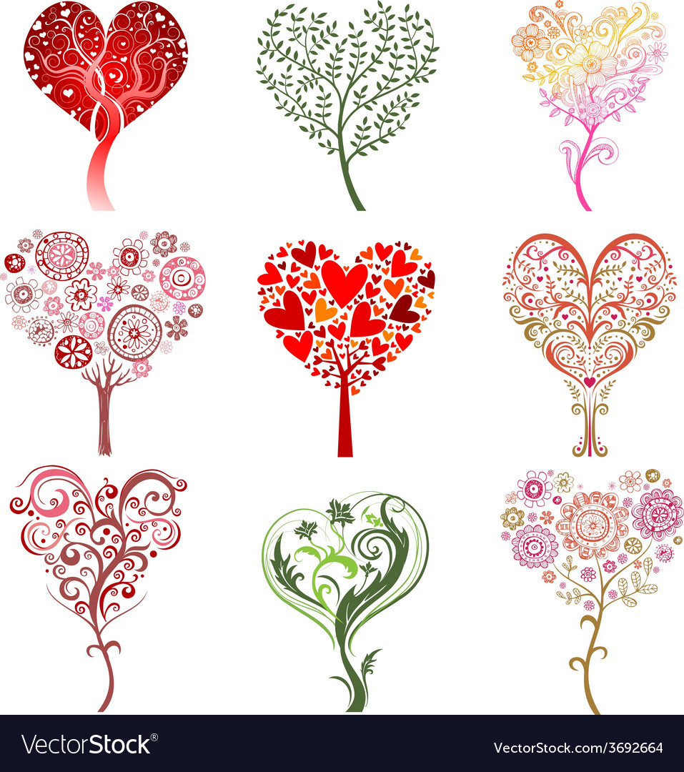 Trees in the form of heart vector | Price: 1 Credit (USD $1)