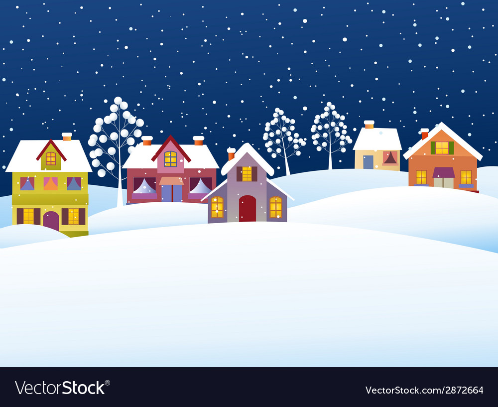Winter rural landscape vector | Price: 1 Credit (USD $1)