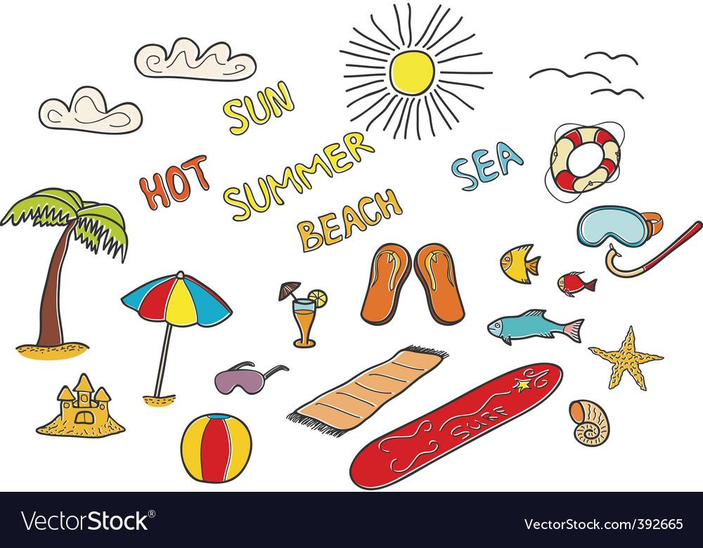 Beach doodles vector | Price: 1 Credit (USD $1)